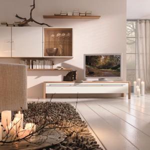 Biel łączona z drewnem to popularna kolorystyka we wnętrzach. Fot. Huelsta
