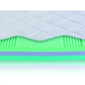 """""""Vario Star"""" Sembella/Recticell 7-strefowy, trójwarstwowy wkład piankowy został obustronnie pokryty profilowanymi strefowo płytami z pianki wysokoelastycznej Bultex. Komfort zapewniają ponadto: zróżnicowana twardość obu stron materaca i pokrowiec z dzianiny materacowej piankowej z poliestrową włókniną klimatyzującą. Fot. Archiwum"""