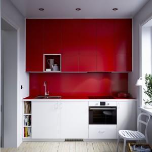 Nowoczesna, czerwono=biała kuchnia IKEA. Fot. IKEA