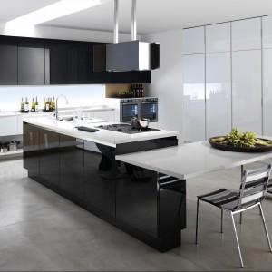 Otwarta kuchnia  w czerni i bieli. Fot. Biefbi