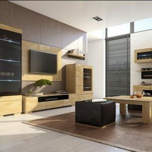 Szafki RTV z kolekcji Rossano Mebin wykonane zostały z litego drewna w kolorach bianco i notte. Kolekcja pozwala na stworzenie aranżacji, która zaspokoi gusta nawet najbardziej wymagających konsumentów. Fot. Mebin