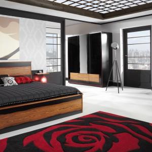 """Nowoczesna sypialnia """"Flamenco"""" firmy Mebin jest wykonana z okleiny naturalnej modyfikowanej.  Fot. Mebin"""