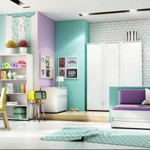 Tęczowe barwy ścian, mebli i dodatków spodobają się dziewczynkom. Fot. Timoore