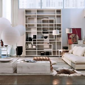 Biblioteczka o ciekawym układzie półek ozdobi salon. Fot. Marchetti