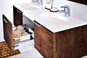 Foliowany MDF na meblach łazienkowych