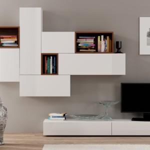 Meblościanka Dorade X dystrybuowana przez markę LePukka to nowoczesne meble do salonu, których podstawą jest geometria. Fot. LePukka