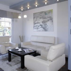 Sofy i fotele na wysokich, zgrabnych nóżkach nie przytłaczają wnętrza. Oświetlenie, duże powierzchnie przeszkleń oraz przestrzenny obraz wizualnie powiększają mały salon. Fot. Bartosz Jarosz