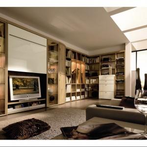 Odkrywasz telewizor wówczas kiedy go potrzebujesz, zaś kiedy jest zbędny, można go ukryć za specjalnie opuszczaną ścianką. Fot. Hulsta