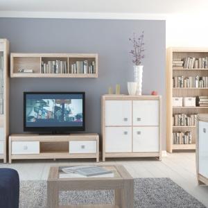 Kolekcja Loren do pokoju dziennego to połączenie bieli na wysoki połysk z delikatnym kolorem drewna. Rozjaśni każdy salon. Fot. BRW
