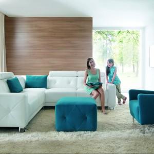 Sofa Life prezentuje piękną, klasyczną formę i doskonale łączy kolory. Bardzo stylowym elementem są przeszycia na środku oparcia. Fot. Wajnert Meble