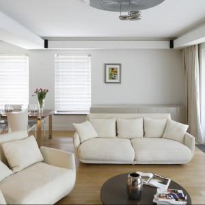 Idealnym rozwiązaniem do rozjaśnienia salonu będzie ustawienie w nim jasnej sofy. Duże mięsiste siedzisko w delikatnym, kremowym kolorze zachęca do wypoczynku. Projekt: Kamila Paszkiewicz. Fot. Bartosz Jarosz