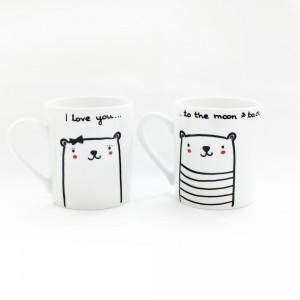 Kubki z wyznaniem miłości. Idealne dla pary do porannej kawy lub herbaty. Fot. Miamilu/DaWanda.pl