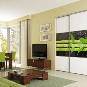 Graficzny motyw bambusa na drzwiach szafy stanowi mocny element dekoracyjny salonu. Fot. Komandor