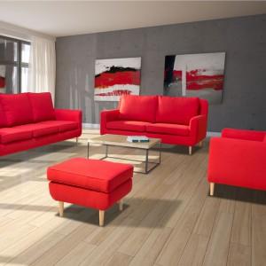 Sofa w salonie to wyraźny element dekoracyjny. Warto wykończyć ją charakterystyczną tkaniną, np. w czerwonym kolorze. Fot. Agpol