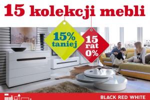 15 kolekcji 15% taniej i 15 rat 0% w Black Red White