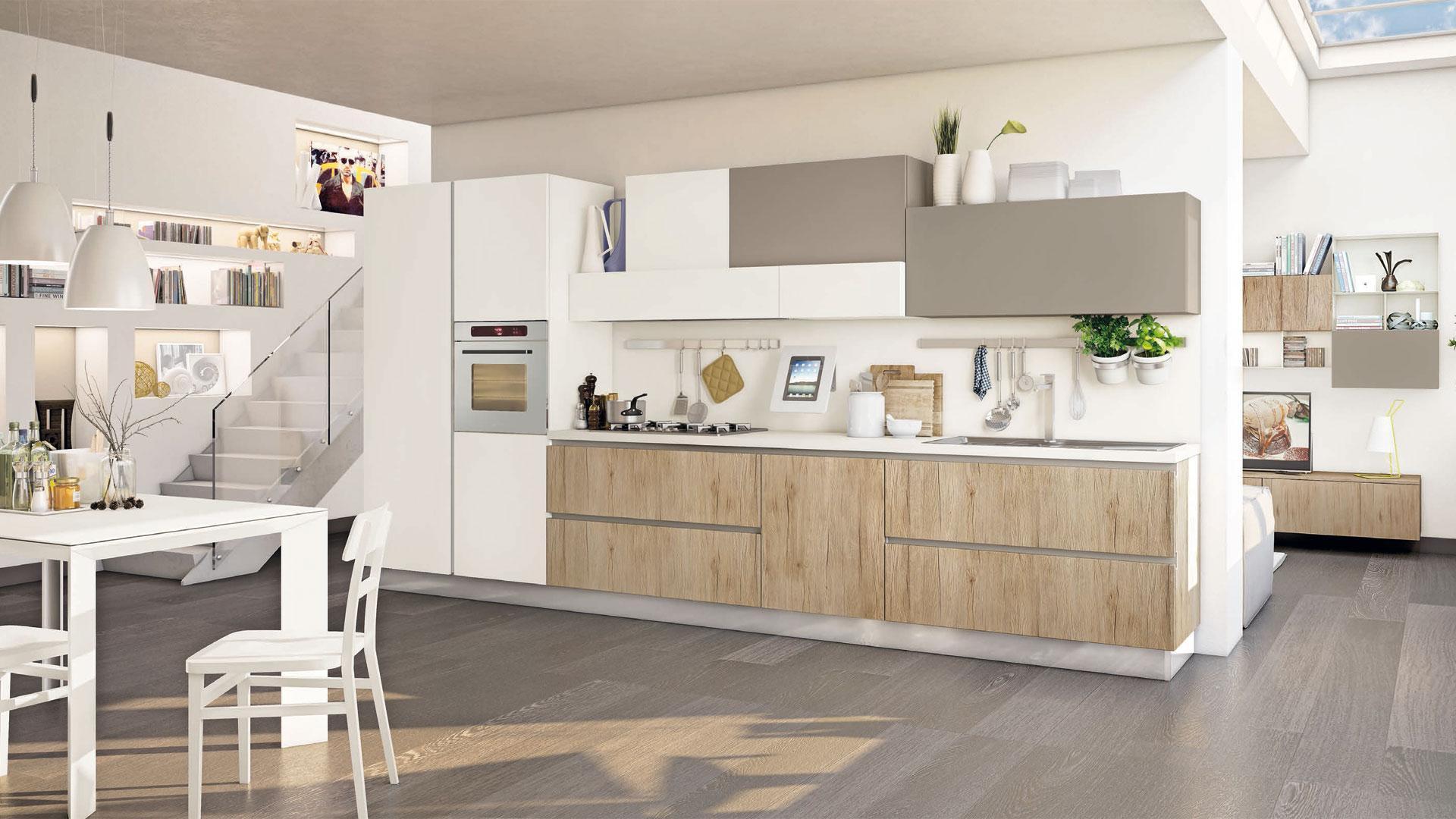 Kuchnia na jedną ścianę sprawdzi się w otwartym wnętrzu o jednolitej kolorystyce. Fot. Lube