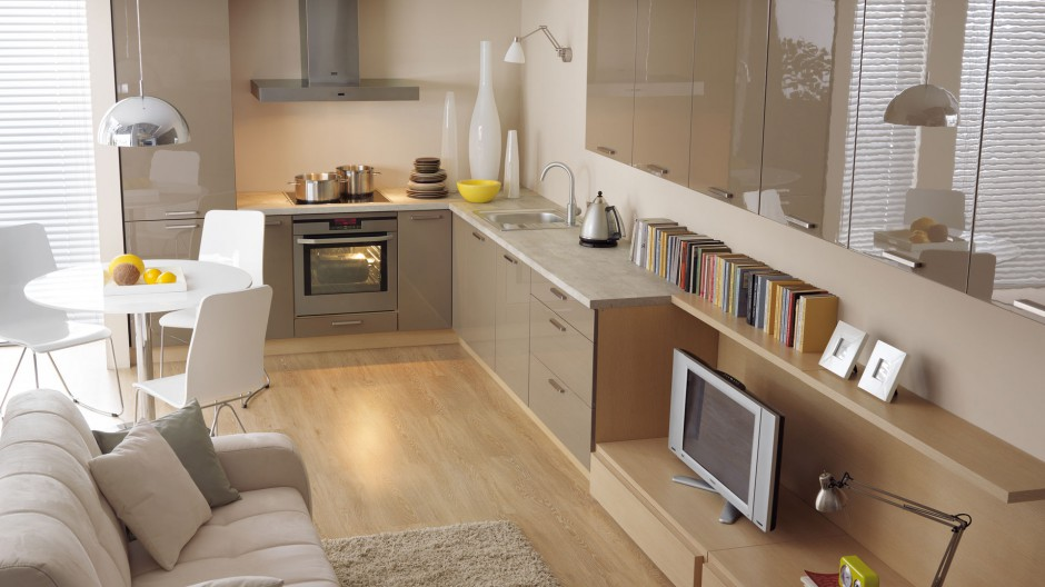 Wybieramy meble  Aranżacja kuchni Modne propozycje w kształcie litery L  m   -> Kuchnia W Kolorze Kawa Z Mlekiem