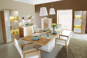 Aranżacja salonu. 12 kolekcji w kolorze jasnego drewna