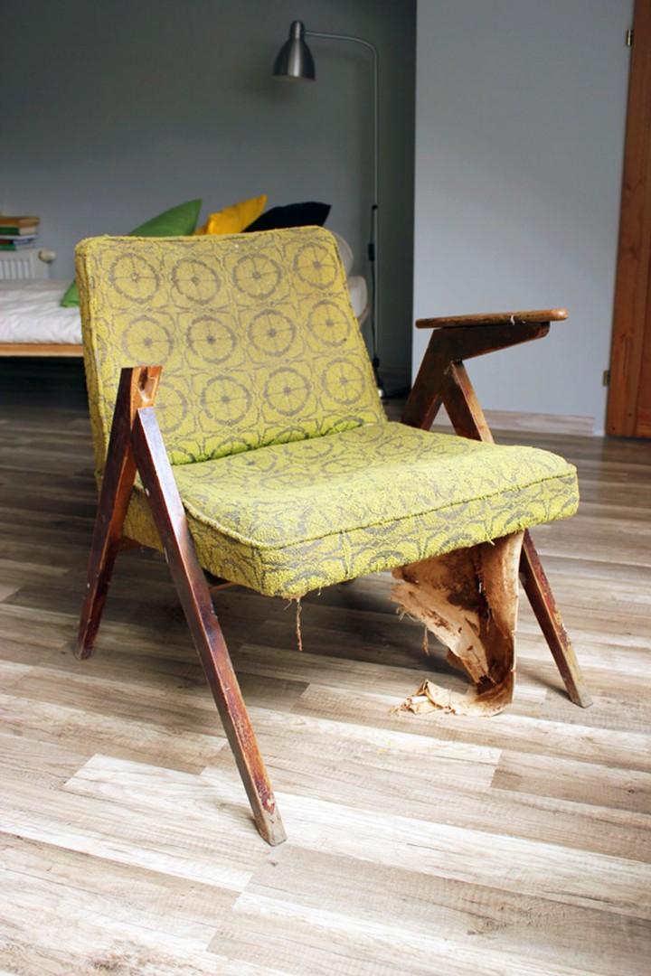 Połamana konstrukcja fotela. Brakujące części można zamówić u stolarza. Fot. Paweł Machomet