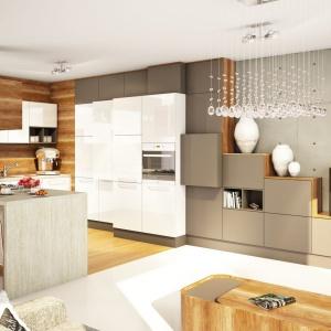 Otwarte półki pięknie prezentują się w kuchni otwartej na salon. Fot. Moelke