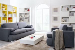 Sofa w salonie. Modele w modnych szarościach