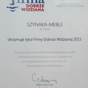 W tym roku firma Szynaka Meble otrzymała również tytuł