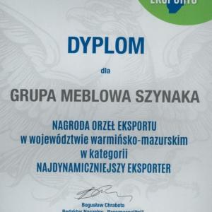 Dyplom, który przypadł Grupie Meblowej Szynaka w konkursie