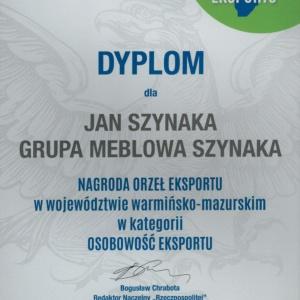 Dyplom, który przypadł Janowi Szynaka, prezesowi Grupy Meblowej Szynaka, w konkursie