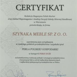 Certyfikat potwierdzający otrzymanie przez Grupę Meblową Szynaka tytyułu