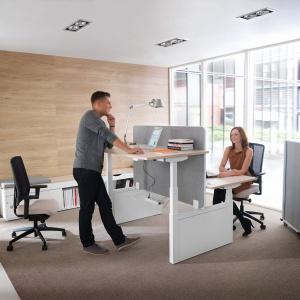 System mebli pracowniczych Balance można przystosować do takiej formy pracy, jaka w danym momencie nam odpowiada. Fot. Mikomax