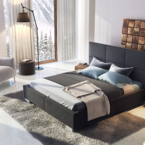 Kolekcja Fabrizzio. Łóżko wyróżnia się tapicerowanym prostym i eleganckim zagłówkiem, którego wzór tworzą duże, tapicerowane prostokąty. Fot. Agata Meble