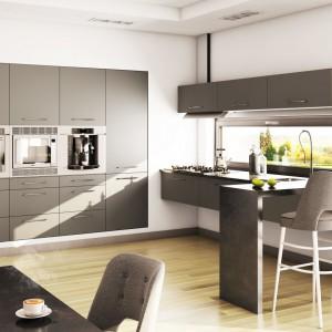Szarości w kuchni są obecnie bardzo popularne. Dobrze prezentują się na tle białej ściany. Fot. Moelke