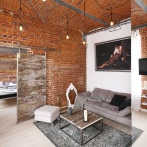 Wnętrza loftów charakteryzują się wysokimi stropami. Projekt: Tomasz Jasiński. Fot. Bartosz Jarosz