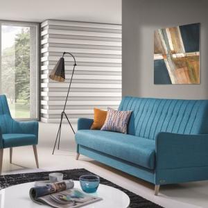 """Fotel i sofa z kolekcji """"Vittorio"""" firmy Unimebel. Oba meble zdobione są pikowaniami. Fot. Unimebel"""