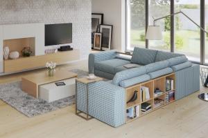 Sofa w salonie. Modele z półkami