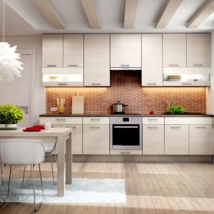 Meble i sprzęt AGD można ustawić w kuchni na jednej ścianie, nie tracąc ani na funkcjonalności, ani na estetyce pomieszczenia. Fot. KAM