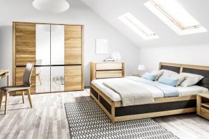 Meble w sypialni. Nowe kolekcje z dekorem drewna