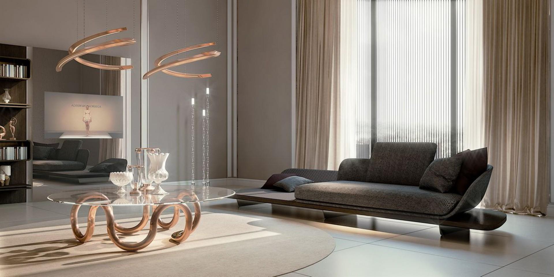 Sofa, stół oraz lampa z najnowszej kolekcji Pininfarina Segno marki Reflex. Fot. Galeria Mebli Hebansamą w sobie stanowią zręczne połączenia najróżniejszych materiałów, takich jak szlachetne drewno, skóra, miedź, marmur ze szkłem Murano oraz Mesh. Fot. Galeria Mebli Heban