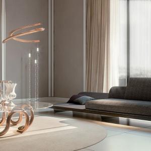Sofa, stół oraz lampa z kolekcji Pininfarina Segno marki Reflex. Fot. Galeria Heban