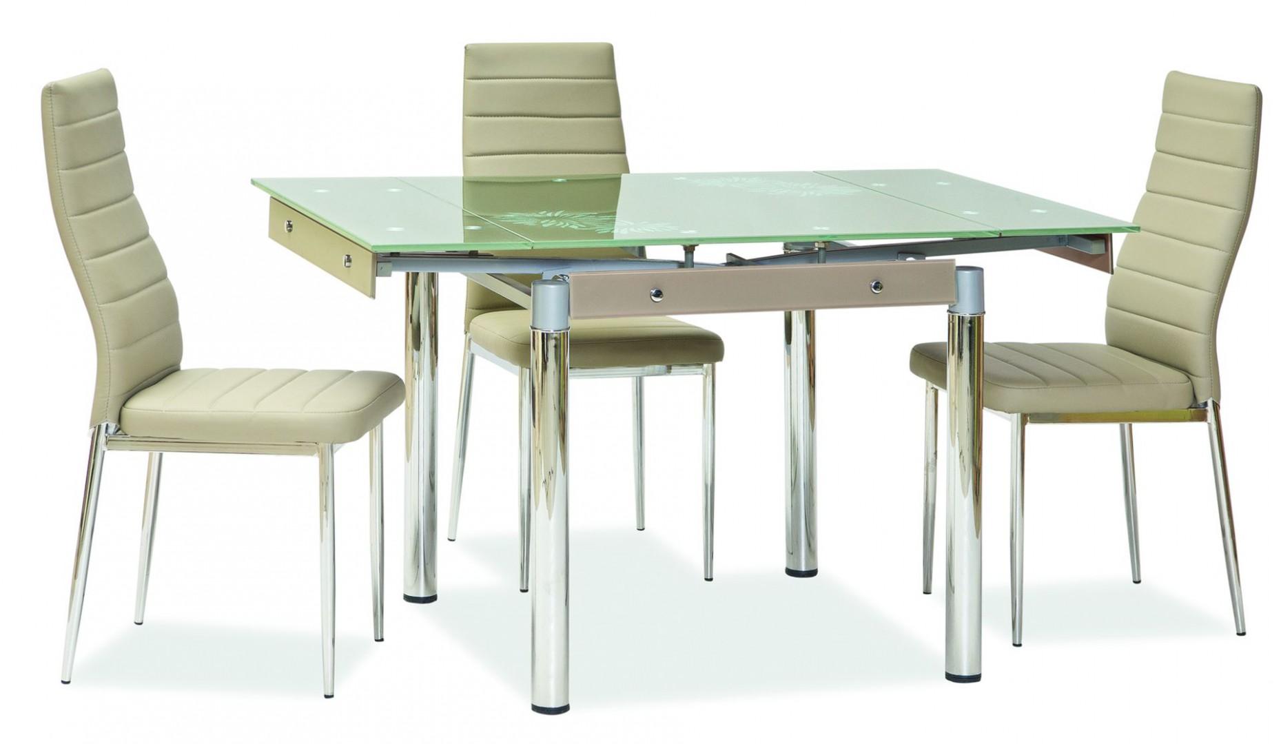 Nowoczesne krzesła do jadalni, dobrze komponują się ze stołem o szklanym blacie. Fot. Signal