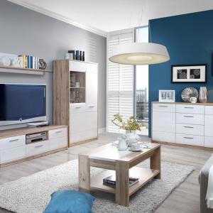 Kolekcja Canto to białe meble ocieplone drewnem. To połączenie kolorostyczne sprawdzi się w każdej stylistyce salonu. Fot. Meble Forte