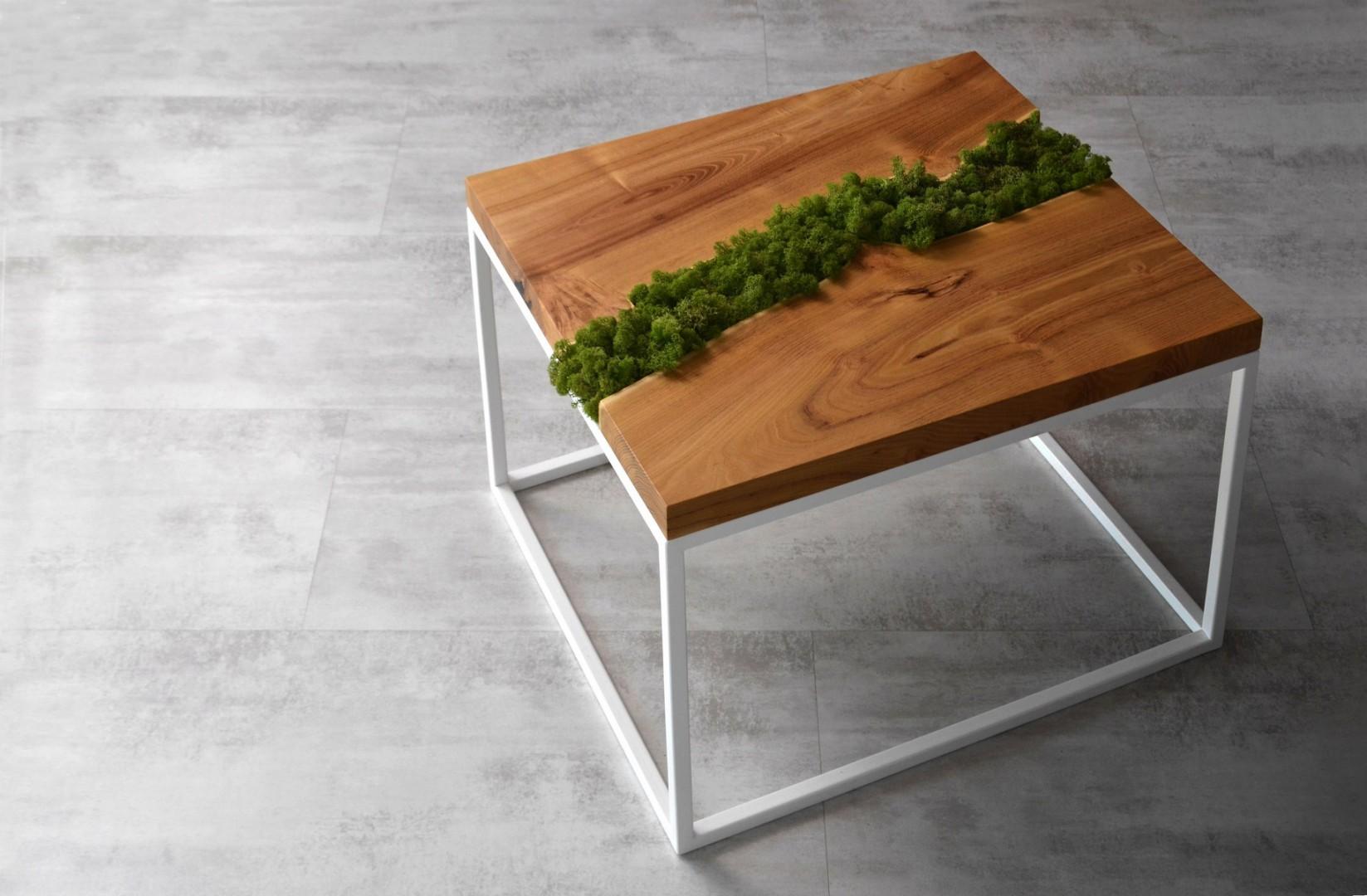 Stolik kawowy z mchem to doskonałe rozwiązanie do salonu urządzonego w naturalnej stylistyce. Fot. Malita Just Wood