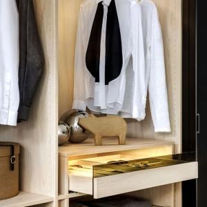 Rozwiązania zastosowane w garderobie firmy Raumplus. Fot. Raumplus