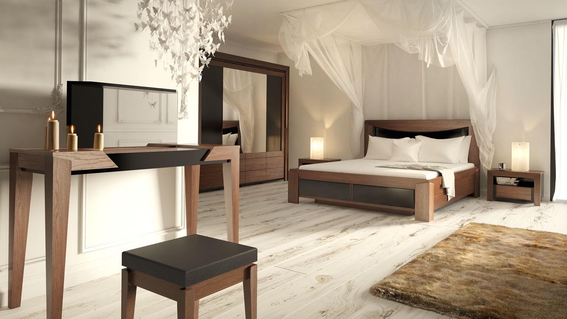 Sypialnia Sempre - ciemne meble warto przełamać jasnymi dodatkami i kolorami ścian. Fot. Mebin