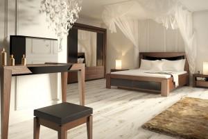 Sypialnia w kolorach ciemnego drewna - wnętrze pełne klimatu