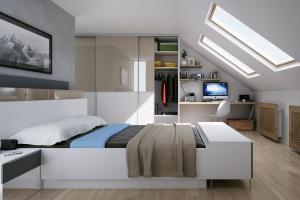 Sypialnia na poddaszu. Meble idealne pod skosy
