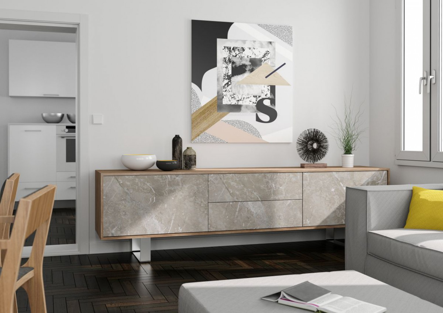 Mebel, w którym wykorzystano dekor Veneto z oferty firmy Interprint. Fot. Interprint