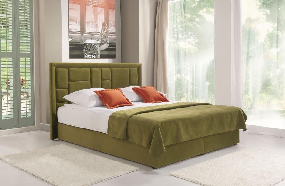 Łóżko Linea ma zagłówek w geometryczne wzory. Fot. Libro