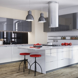 Szaro-biała kuchnia Miramar Bis. Połyskujące fronty nadają wnętrzu wizualnej przestrzeni. Fot. Classen