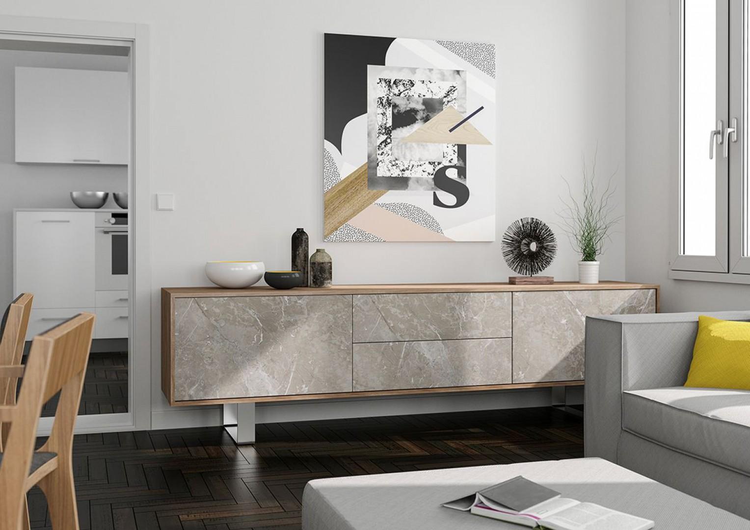 Komoda, w której zastosowano imitujący marmur dekor Veneto firmy Interprint. Fot. Interprint Polska